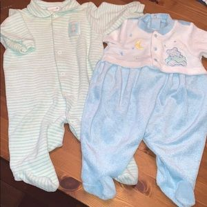 Set Of 2 Terry Snap Long Sleeve Sleepers Both 3-6M